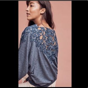 Anthro Meadow & Rue Bria Lace-Back Sweatshirt